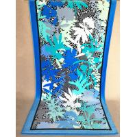 Quality Velour Cotton Promotional Beach Towels With Navy Blue Oak Leaves 75 * 180cm for sale