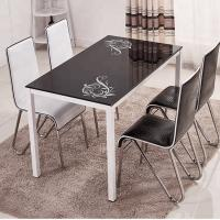 Buy cheap Tempered Glass Top Dining Room Table With Powder Coating Counter legs with different color different chairs product