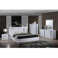 Buy cheap King Size High Gloss Bedroom Furniture Set Lacquer Painting With White / Blue Color product
