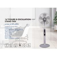 China White Figure 8 Oscillation Fan , 16 Inch Led Display Remote Control Electric Stand Fan on sale