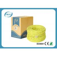 Quality Yellow Color Cat5e Lan Cable PVC Sheath 100MHZ Spectral Bandwidth 0.4mm / 0.45mm for sale