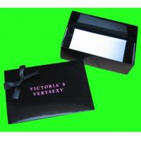 Buy cheap Folding Paper Box , Black Color Gift Box Packaging With Bow Tie from wholesalers