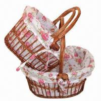 Buy cheap Storage Willow Basket with Cotton Lining, Used for Household Storage, Eco-friendly product