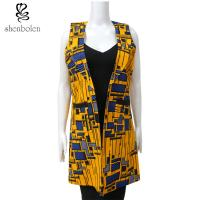 China Sleeveless African Print Tops And Jackets For Ladies Yellow Color Double Breasted on sale