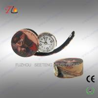 Quality Fashion desktop decarational leather travel alarm Clock with printing images for sale