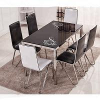 Buy cheap Fashionable Glass Dining Room Sets Beige / Black / Blue / Pink Optional product