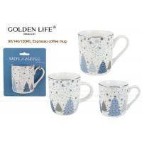 Buy cheap Porcelain Cappuccino Decorative Coffee Mugs With Snow Chiristmas Tree Design from wholesalers