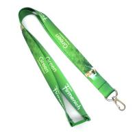 China Green Dye Sublimation Lanyards Keychain Necklace Strap With Metal Spring Hook on sale