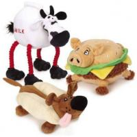 Buy cheap Grriggles Lunchmates Plush Pet Toys Sound Chip Stuffed With Dog Cow Pig Shaped product