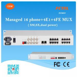 Managed 16 Phone SNMP 4E1 4FE SM SX (FXS/FXO) POTS Fiber Optic Multiplexer