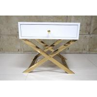 Buy cheap White Painted Gold Hotel Bedside Tables With Polished Metal Base , 60% Sheen product