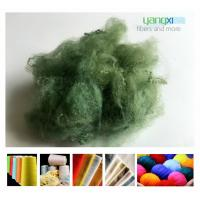 Buy cheap 1.5D * 38MM Green Color Polyester Fiber , PSF Polyester Staple Fiber For Yarn product
