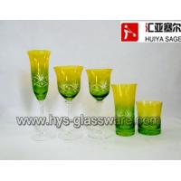 Quality Engraved flute glasses, wine glasses, tumblers, sprayed two-color 2014 new designs for sale