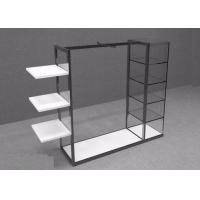 Buy cheap Island Style Clothing Display Rack With Metal Power Coated And Wooden Shelf from wholesalers