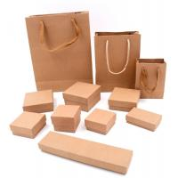 Kraft Paper Square Jewelry Earring Bracelet Ring Necklace Packaging Box Gift Boxes With Sponge