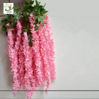 Buy cheap UVG Latest wedding decoration fabric artificial flower making with pink wisteria vine product