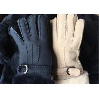 Buy cheap Black Thick Fur Warmest Sheepskin Gloves With Lambswool Lining Waterproof product