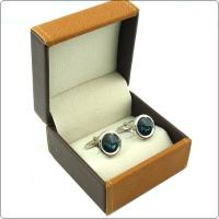 Custom Jewelry Packaging Leather Cufflink Box Black Color With Lids