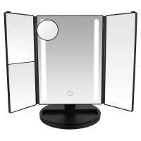 Buy cheap Touch Screen Tri-fold LED Lighted Makeup Mirror with 1X 2X 3X 10X Magnification from wholesalers