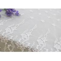 Buy cheap Embroidered Edge Fabric White Floral Lace Vine Netting Tulle For Bridal Gowns from wholesalers