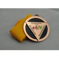 Buy cheap Die Casting Ribbon Medals with Imitation Hard Enamel, Copper Plating And Gold Plating, 2 Levels product