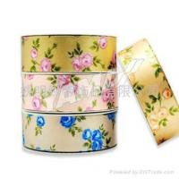 rose printed ribbon/sheer flower ribbon/Heat-Transfer Printed Ribbon