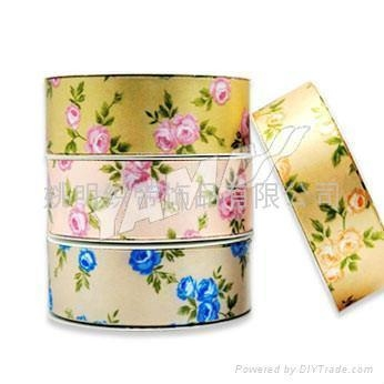 Quality rose printed ribbon/sheer flower ribbon/Heat-Transfer Printed Ribbon for sale