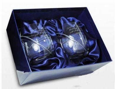 Quality Anniversary Gifts Swarovski Heart Crystal Pair of engraved Whisky Glasses for sale