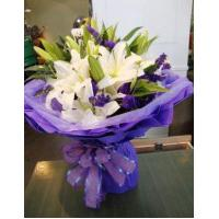 Buy cheap Birthday 6 stem lilies with statice delivery NO.1 birthday gift to austr product