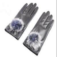 Buy cheap Customized Free Sample High Quality Brown with Pom-Pom Women PU Warm Gloves product