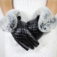 Buy cheap Made in China Low Price Fashion Warm Black Square with Cony Hair Women PU Winter Gloves product
