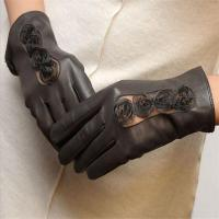 Buy cheap Genuine Leather Glove Fashion Lace Flower Design Low Price Women Leather Fashion Gloves product