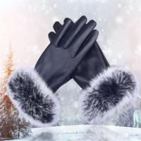 Buy cheap 2017 China Manufacturers Long-Wool Navy Blue Women Leather Warm Gloves product