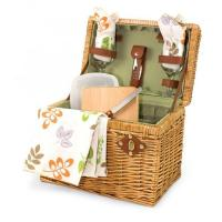 Picnic Time Napa 11 3/4 Willow basket w/ wine & cheese service for 2