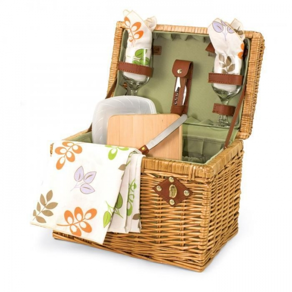 """Quality Picnic Time Napa 11 3/4"""" Willow basket w/ wine & cheese service for 2 for sale"""