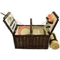 Buy cheap Picnic at Ascot 713B-DO Surrey Willow Picnic Basket with Blanket and Service for 2 - Diamond Orange product