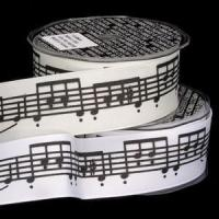 Buy cheap New & Noteworthy Music Notes Wire Edge Ribbon (white or cream) product