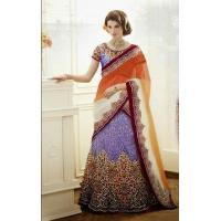 Lehenga Orange & Purple Designer Bridal Lehenga - DIF 32156