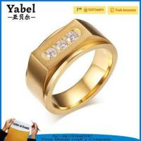 Gold Stainless Steel Wedding Zircon Three-stone Ring Designs For Men