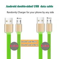 Flat Wire Double Side Micro USB Charging Cable with Two Side Micro Connector