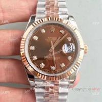 Buy cheap New 2017 Copy Rolex Datejust 41mm 2-Tone Rose Gold Chocolate Diamond Watch product
