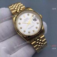 Knockoff Rolex Datejust Mens Watch Gold Jubilee Band Silver Dial 36mm