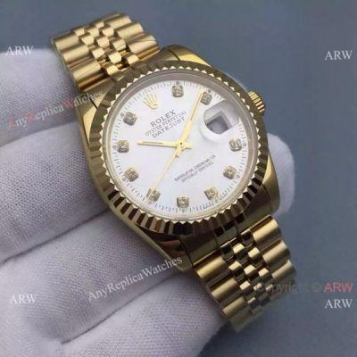 Quality Knockoff Rolex Datejust Mens Watch Gold Jubilee Band Silver Dial 36mm for sale