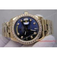 Buy cheap Copy Rolex Oyster perpetual Day-Date Watch All Gold Blue Face Diamond Bezel product