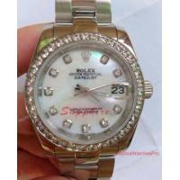Replica Rolex Datejust SS Oyster White MOP Diamond Bezel 31mm Midsize Watch