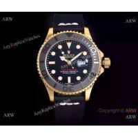 Buy cheap 2017 New Replica Rolex Yachtmaster Watch Yellow Gold Case Black Rubber Band product