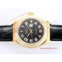 Buy cheap Copy Rolex Datejust Watch All Gold Black Arabic Black Leather product
