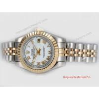 Buy cheap Copy Rolex Datejust Watch 2-Tone White Roman Dial Ladies Size product