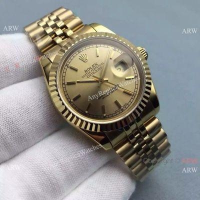 Quality Copy Rolex Datejust Gold Jubilee Band Gold Dial Mens Watch 36mm for sale