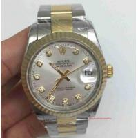 Buy cheap Copy Rolex Datejust Watch 2-Tone Oyster Silver Dial Diamond Markers product